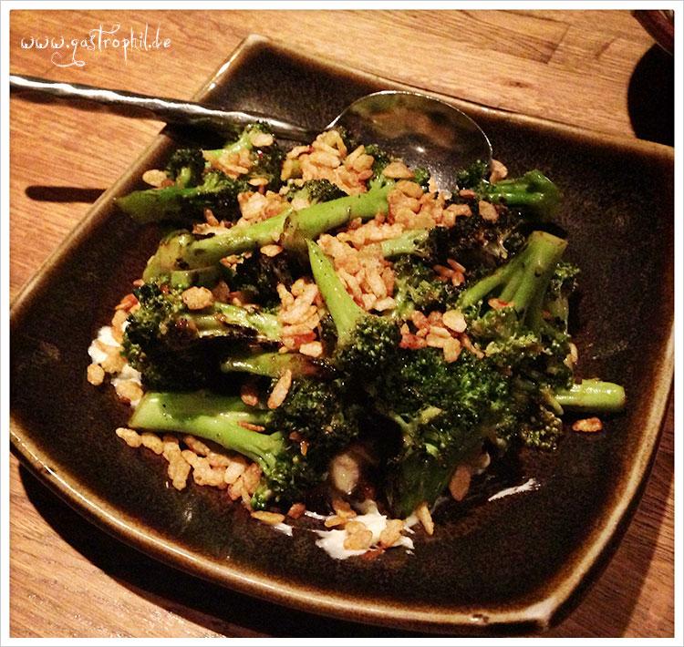 Wood grilled broccoli, rogue smokey bleu, spiced crispies
