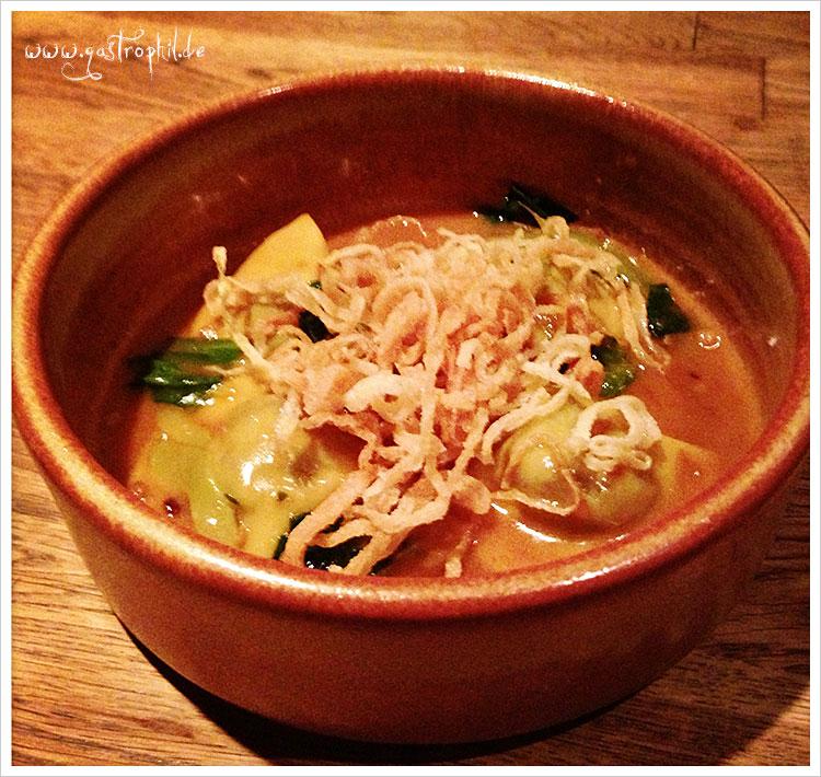 Escargot ravioli, bacon, tamarind-miso sauce