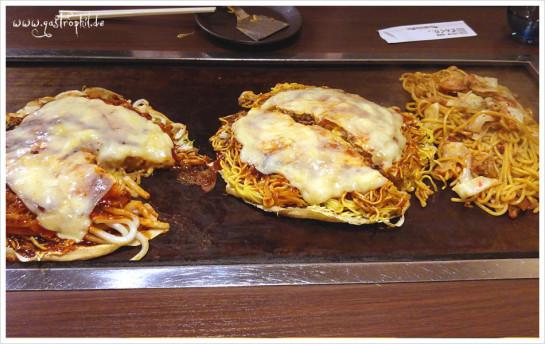 Kyoto Betayaki. Links mit Udon + extra Käse, Mitte mit dünnen Soba und extra Käse und rechts dicke Udon